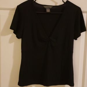 Banana republic black deep V neck short sleeve L